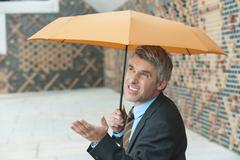 Stock Photo of Germany, Hamburg, Businessman with umbrella