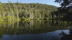Panning of early morning reflection on Sand Pond near the Sierra Buttes in Tahoe Stock Footage