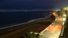 Time lapse of waves breaking below the Ventura Promenade at predawn in Ventura, Stock Footage