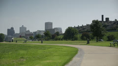 Memphis City Skyline with Runner - stock footage