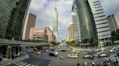 Taipei central city junction traffic time lapse - stock footage