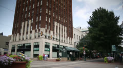 Memphis City Downtown Trolly Station + Tall Building Stock Footage