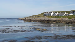 Seals and Portnahaven waterfront Isle of Islay Scotland Stock Footage