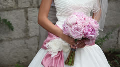 Bridal bouquet of peonies. - stock footage