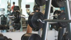 Workout lifting weights Stock Footage