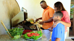 Young African American Family Outdoor Barbeque - stock footage