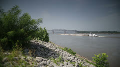 Memphis Old Bridge + Freight Ship - stock footage