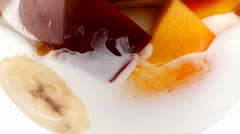 Chocolate cream with fruits Stock Footage