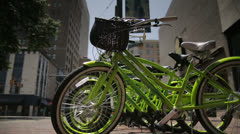 Memphis City Downtown - Bikes Rack Focus to Background Stock Footage