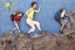 Germany, Artificial scene of family mountaineering - stock photo