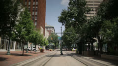 Memphis City Downtown - A look down the trolley tracks Stock Footage