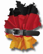 German flag with tight belt against white background, close up Stock Illustration