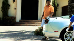 African American Father Son Arriving Home Luxury Car Stock Footage