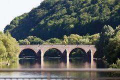 Europe, Germany, Rhineland-Palatinate, View of drususbridge over nahe river Stock Photos