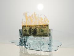 us currency fire melts ice cube - stock illustration