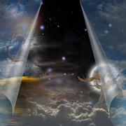 veil of sky pulled open to reveal other - stock illustration