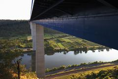 Stock Photo of Europe, Germany, Rhine-Palatinate, View of motorway brigde above moselle river