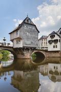 Europe, Germany, Rhine-Palatinate, View of historical houses with old nahe Stock Photos