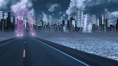stormy sky on desert road leading into city - stock illustration