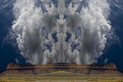 Skeletal clouds over mesa - stock illustration