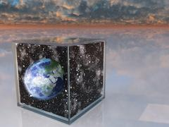 Planet eart and space inside box in surreal scene Stock Illustration