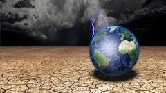 earth in desert - stock illustration