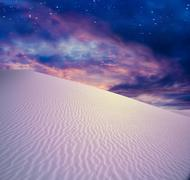 twilight sky desert - stock illustration