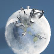 Kaupunki maa pilvien Piirros