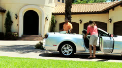 Happy Ethnic Parents Son Arriving Home Luxury Car Stock Footage