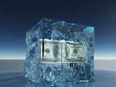 One hundred dollar bill frozen in ice Stock Illustration