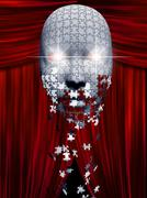 Puzzle pieces fall away from mask in theater backgropund Stock Illustration