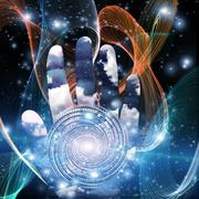 Hand with swirling form Stock Illustration