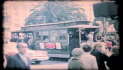 Street scene of San Francisco trolley cars, 361 vintage film home movie Stock Footage