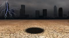 Dark city with hole in desert floor Stock Illustration