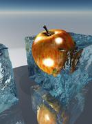 frozen apple food preservation - stock illustration