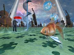 surreal scene with various eelements - stock illustration