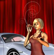 wealthy girl with sports car smoking cigar with text for smoke - stock illustration