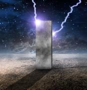 strange monolith on lifeless planet - stock illustration
