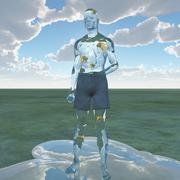 liquid man with goldfish - stock illustration