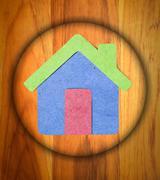 house icon  on   wood background. - stock illustration