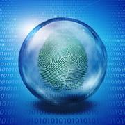 fingerprint and binary code - stock illustration