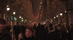 Champs-Élysées at Night Stock Footage
