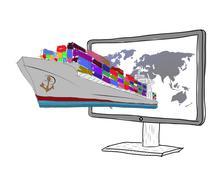 sketch concept of logistics. cargo ship - stock illustration