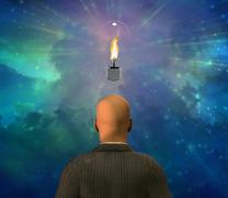 light bulb with flame - stock illustration