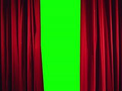 3K Real theater curtain opening Stock Footage