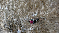 Female Rock Climber on Steep Conglomerate 14 Stock Footage