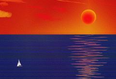 Sailboat on sea art Stock Illustration
