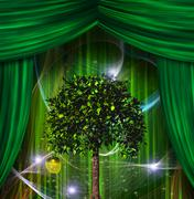 tree and apple before curtains - stock illustration