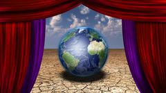 World stage earth in desert veiwed through open curtains earth image credit n Stock Illustration