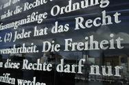 Stock Photo of Europe, Germany, Berlin, Close up of  german constitution written on glass in
